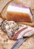 Ukrainian lard with black bread Stock Photo