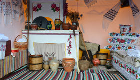 Ukrainian life inside the house. Traditional ingredients kitchenware royalty free stock photography