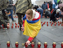 Ukrainian Maidan filled with memorial candles Stock Photography