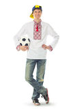 Ukrainian man in the national shirt with a ball Royalty Free Stock Image