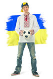 Ukrainian man in the national shirt with a ball Royalty Free Stock Photos