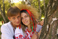 Ukrainian man and woman. Portrait man and woman in Ukrainian national clothes royalty free stock photography