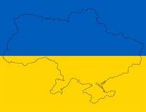 Ukrainian map in flag. Stilized Ukrainian map in flag colors Stock Photo