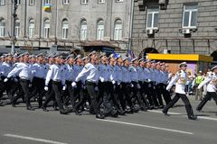 Ukrainian mariners marching at the military parade stock images