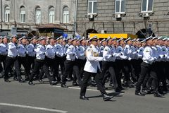 Ukrainian mariners marching at the military parade royalty free stock photography