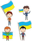 Ukrainian men. Doodle set with Ukrainian men holding flags of the country Royalty Free Stock Photos