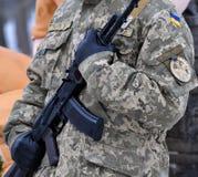Ukrainian military with a gun_3 Royalty Free Stock Image