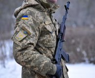 Ukrainian military with a gun_4 Stock Images