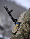 Ukrainian military with a gun_5 Royalty Free Stock Photo