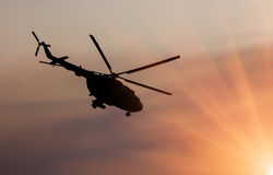 Ukrainian military helicopter in flight Stock Images