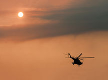 Ukrainian military helicopter in flight Stock Photography