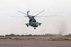 Ukrainian military helicopter in flight Royalty Free Stock Photo