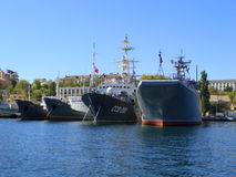 Ukrainian military ships docked in Sevastopol, Crimea Stock Photography