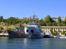 Ukrainian military ships docked in Sevastopol, Crimea Royalty Free Stock Photos