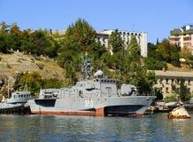 Ukrainian military ships docked in Sevastopol, Crimea Stock Image