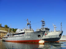 Ukrainian military ships docked in Sevastopol, Crimea Royalty Free Stock Images