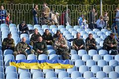 Ukrainian military in the stands Royalty Free Stock Photography