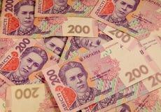 Ukrainian money. Background of two hundred hryvnia banknotes Royalty Free Stock Photo