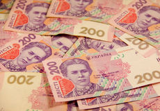 Ukrainian money. Background of two hundred hryvnia banknotes Royalty Free Stock Photography