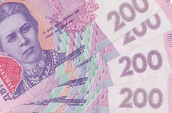 Ukrainian money. Bills close-up Stock Images