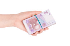 Ukrainian money fanned out in her hand Royalty Free Stock Images