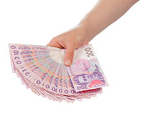 Ukrainian Money in hand Royalty Free Stock Photography