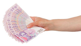 Ukrainian money in hand Royalty Free Stock Photos