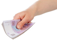 Ukrainian money in hand Stock Photography