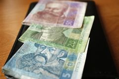 Ukrainian money, hryvnias and kopeks, close-up, 20,50,5,1 hryvnia stock photos