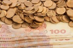 Ukrainian money. Hundred hryvnias and coins ten kopeck Royalty Free Stock Photo