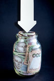 Ukrainian money in the jar Royalty Free Stock Photography
