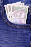 Ukrainian money in jeans pocket Royalty Free Stock Photo
