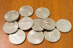 Ukrainian money. Jubilee coins 10 hryven. New Ukrainian money. Commemorative coins 10 hryven. Three jubilee coins: The Day of Ukrainian Volunteer; Defenders of stock image