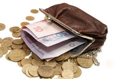 Ukrainian money in pouch Royalty Free Stock Image
