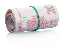 Ukrainian money in a roll Royalty Free Stock Photography