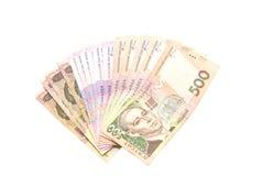 Ukrainian money - UAH. Lot of Ukrainian money, isolated on white background stock images