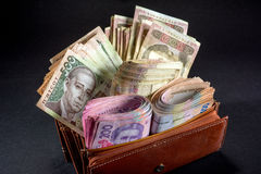 Ukrainian money in the wallet Stock Photography