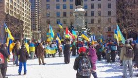 Ukrainian-Montrealers protest Royalty Free Stock Photo
