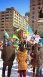 Ukrainian-Montrealers protest Stock Photo