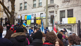 Ukrainian-Montrealers protest. In front of the Russian Consulate. Montreal, QC, March 2014 Royalty Free Stock Photo