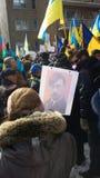 Ukrainian-Montrealers protest Royalty Free Stock Image