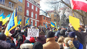 Ukrainian-Montrealers protest. In front of the Russian Consulate. Montreal, QC, March 2014 Royalty Free Stock Image