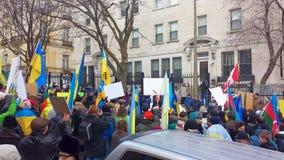 Ukrainian-Montrealers protest Stock Photos