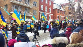 Ukrainian-Montrealers protest Stock Images