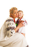Ukrainian mother and daughter hugging Royalty Free Stock Photo