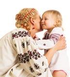 Ukrainian mother and daughter hugging Royalty Free Stock Photos