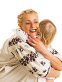 Ukrainian mother and daughter hugging Stock Photography