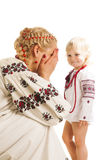 Ukrainian mother and daughter playing Royalty Free Stock Image