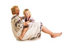 Ukrainian mother and daughter Stock Photo