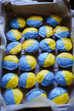 Ukrainian muffins. Yellow-blue muffins like a flag of Ukraine Stock Images